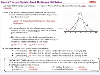 Algebra 2: CU 12: Stats Day 4: The Normal Distribution