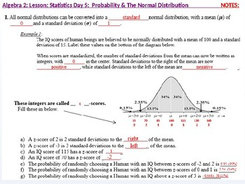 Algebra 2: CU 12: Stats Day 5: Probability and the Normal Distribution