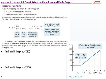 Algebra 2: CU : 2.2 Day 4: More on Functions and their Graphs