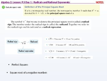 Algebra 2: CU 2: P.3 Day 1: Radicals and Rational Exponents
