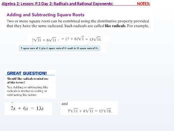 Algebra 2: CU 2: P.3 Day 2: Radicals and Rational Exponentns