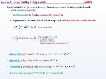 Algebra 2: CU 2: P.4 Day 1: Polynomials