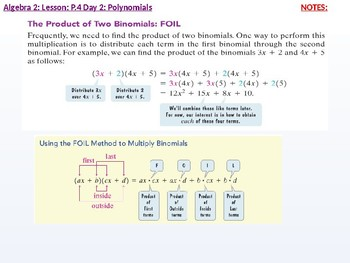 Algebra 2: CU 2: P.4 Day 2: Polynomials