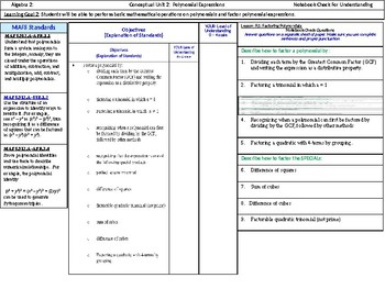 Algebra 2: CU 2: Polynomial Expressions: Standards, Objectives and LEQ's