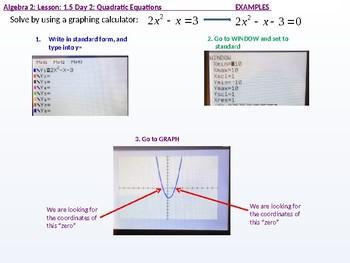 Algebra 2: CU 3: 1.5 Day 2: Quadratic Equations