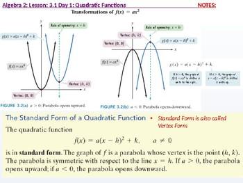 Algebra 2: CU 3: 3.1 Day 1: Quadratic Functions