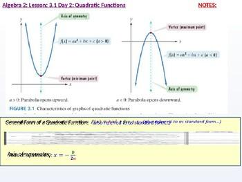 Algebra 2: CU 3: 3.1 Day 2: Quadratic Functions