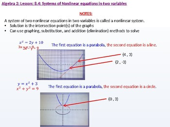 Algebra 2: CU 3: 8.4 Day 1: Systems of Nonlinear Equations in two Variables