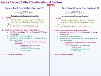 Algebra 2: CU 4 and 5: 2.5 Day 2: Transformations of Functions