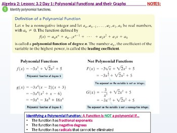 Algebra 2: CU 4 and 5: 3.2 Day 1: Polynomial Functions and their Graphs