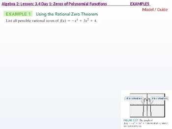 Algebra 2: CU 4 and 5: 3.4 Day 1: Zeros of Polynomial Functions