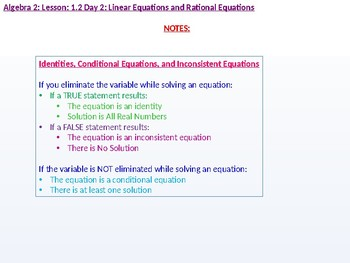 Algebra 2: CU 6: 1.2 Day 2: Linear Equations and Rational Equations