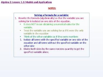 Algebra 2: CU 6: 1.3: Models and Applications