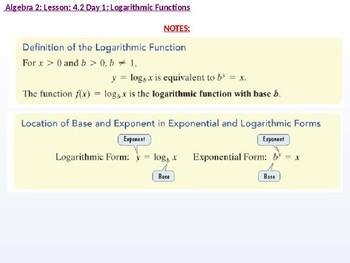 Algebra 2: CU 7: 4.2 Day 1: Logarithmic Functions