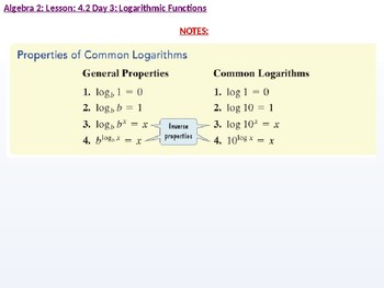 Algebra 2: CU 7: 4.2 Day 3: Logarithmic Functions