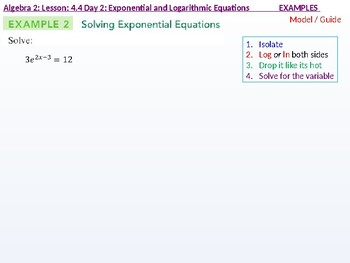 Algebra 2: CU 7: 4.4 Day 2: Exponential and Logarithmic Equtions