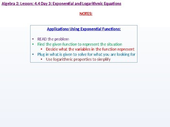 Algebra 2: CU 7: 4.4 Day 3: Exponential and Logarithmic Equaitons