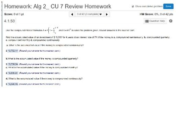 Algebra 2: CU 7: Review: Exponential and Logarithmic Functions