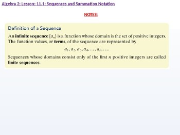 Algebra 2: CU 8: 11.1: Sequences and Summation Notation
