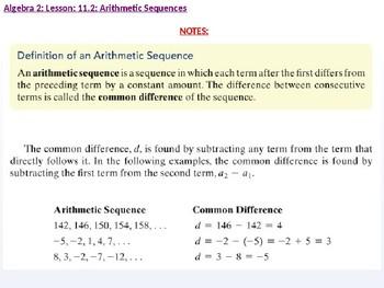 Algebra 2: CU 8: 11.2: Arithmetic Sequences
