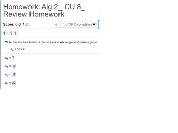 Algebra 2 CU 8: Review: Series and Sequences