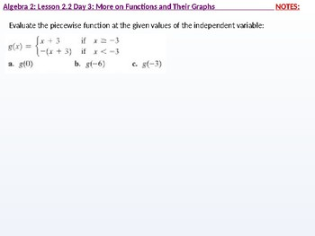 Algebra 2: CU 9: 2.2 Day 3: More on Functions and their Graphs