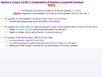 Algebra 2: CU 9: 2.6 Day 1: Combination of Functions: Composite Functions