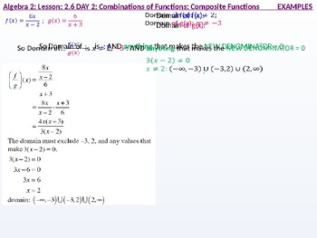 Algebra 2: CU 9: 2.6 Day 2: Combination of Functions: Composite Functions