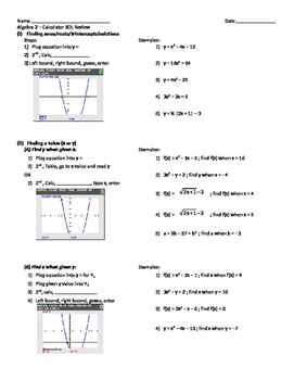 Algebra 2 Calculator Review (TI-84)