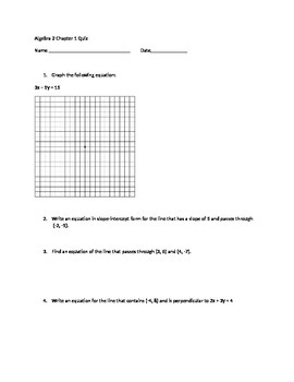 Algebra 2 Linear Functions, Absolute Value Equations, Inequalities  Quiz