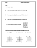 Algebra 2 Chapter One/Two Review Worksheet