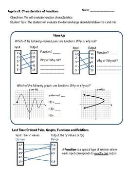 Algebra 2:  Characteristics of Functions Student Notes