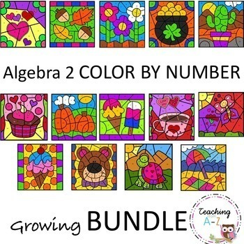 Algebra 2 Color by Number Activities BUNDLE