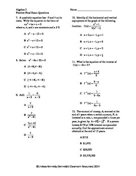 Algebra 2 / Common Core 3 Multiple-Choice Final Exam Review (Short)