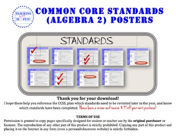 Algebra 2 Common Core Standards Posters (California Standards added as well)