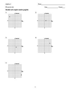 Algebra 2 - Complex Numbers - Homework Pack