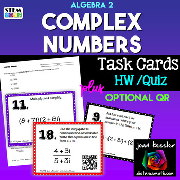 Algebra 2 Complex Numbers  Task Cards