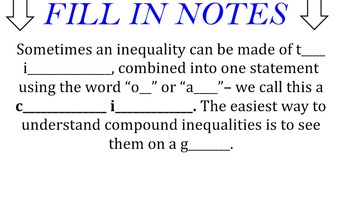 LONG HAUL: Algebra 2 Compound Inequalities Smartboard #5
