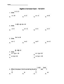 Algebra 2 Comprehensive Fall Semester Exam