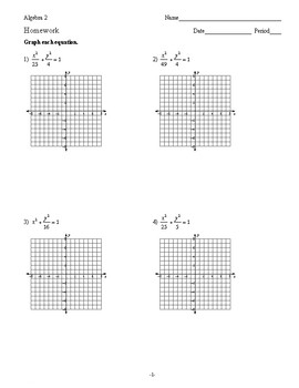 Algebra 2 - Conic Sections - Homework Pack