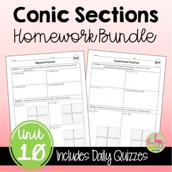Algebra 2: Conic Sections Homework Bundle