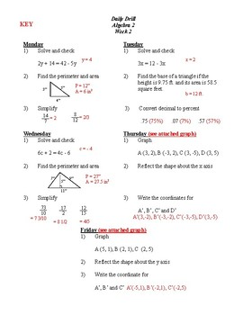 Algebra 2  Daily Drill / Bell Ringer - 41 problems (3 weeks) KEY, Skill booster