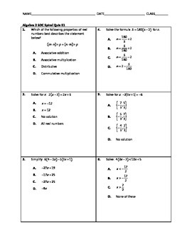 Algebra 2 EOC Spiral Quiz 01 [FOLLOWER FREEBIE]