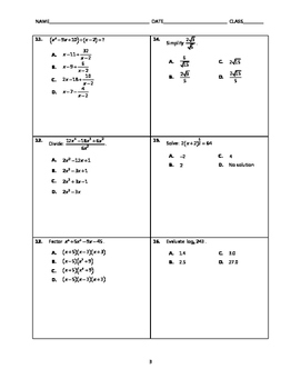 Algebra 2 EOC Spiral Quiz BUNDLE 16-20