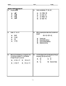 Algebra 2 EOC Spiral Quiz BUNDLE 06-10