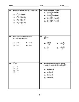 Algebra 2 EOC Spiral Quiz BUNDLE 11-15