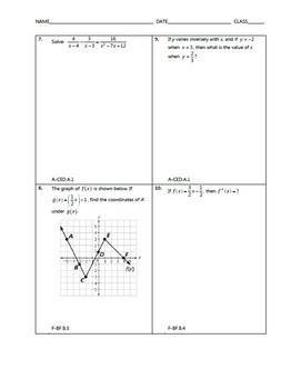 Algebra 2 EOC Spiral Quiz MEGA BUNDLE
