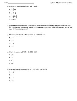 Algebra 2 EOC Systems of Equations