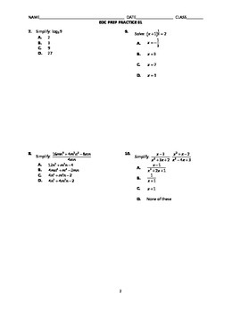Algebra 2 End-of-Course Practice 01