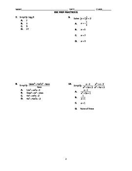 Algebra 2 End-of-Course Practice 01